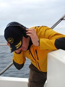Elmar listening to the hydrophone