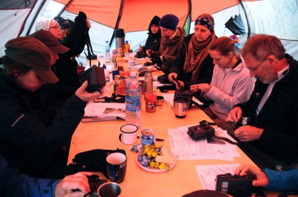 Datasheet & camera trap training session in the mess tent