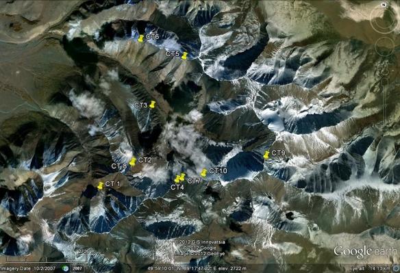 Camera trap locations 2012