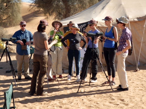 Training how to use the Swarovski Optik spotting scopes and laser distance measurers to assess Arabian oryx health in the desert.