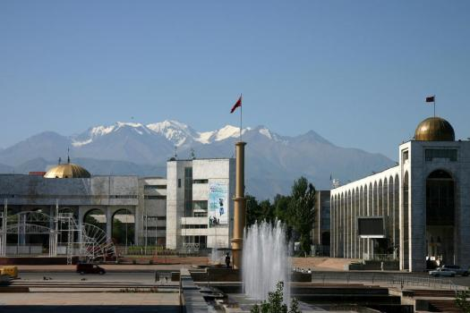 Kyrgyz Alatoo range rising just behind Bishkek