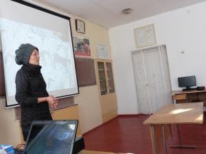 Rahat Yusubalieva delivering her presentation