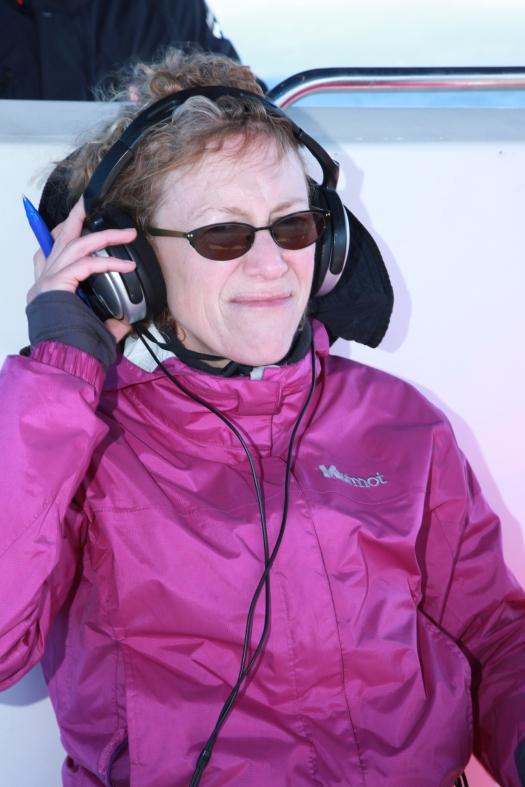 Lynn listening to the hydrophone