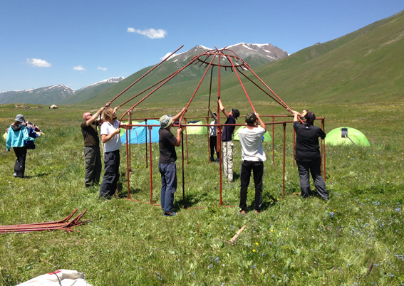 Setting up the yurt