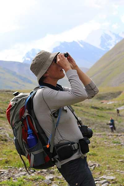 Deborah scanning the ridges for Ibex