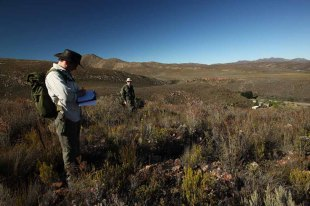 Ben and Andrew on a small mammal survey